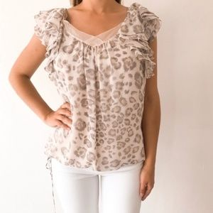 Rebecca Taylor Leopard Print Ruffle Cinched Blouse